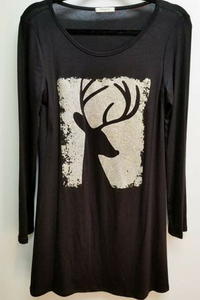 You know Dasher, and Dancer, and Prancer, and Vixen Tunic Dress (Black)