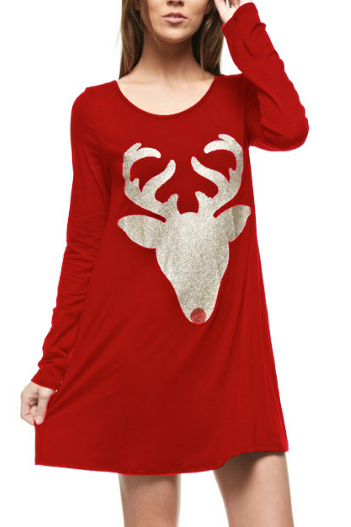 Sleigh Day Tunic Dress (Red)