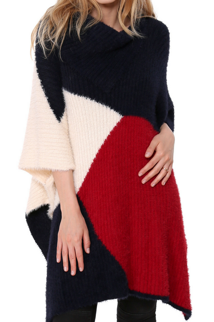 Always Centered Poncho (Navy)