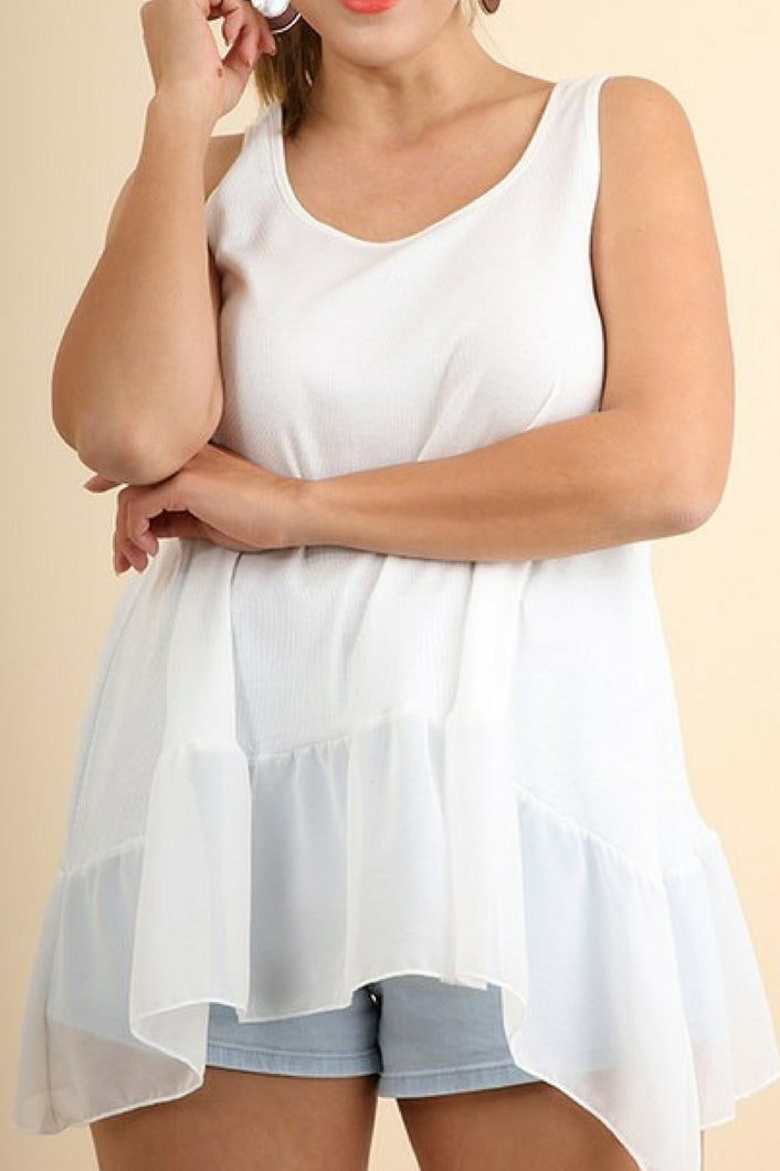 Ruffled Up Ribbed Tank (White)