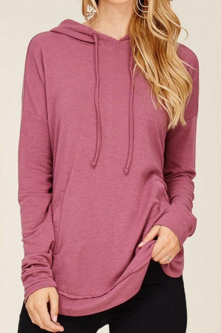Soft Whispers Pullover Top (Dark Pink)