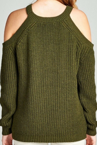 Just For Fun Cold Shoulder Top (Olive)