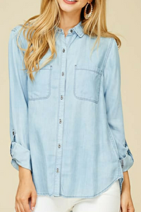 Home on the Range Button Up (Chambray)