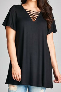 She's on Fire Tunic Top (Black)