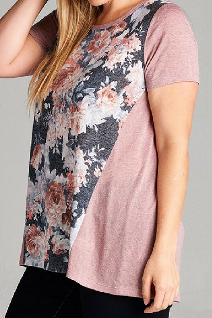 Delicate Roses Top Curvy (Blush)