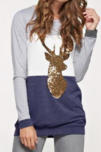 Load image into Gallery viewer, Reindeer Crossing Tunic Top (Navy)