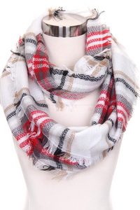 Merry Go Round Infinity Scarf (Red and Tan)