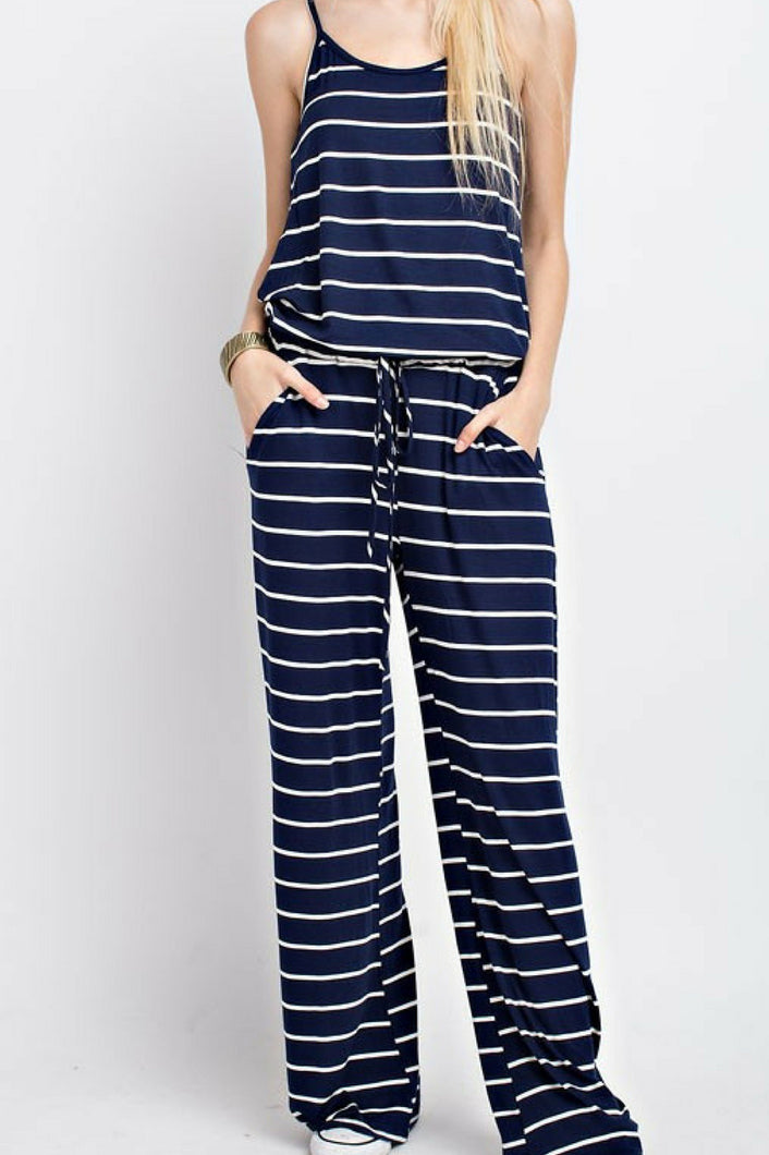 Meet Me At the Yacht Jumpsuit (Navy)