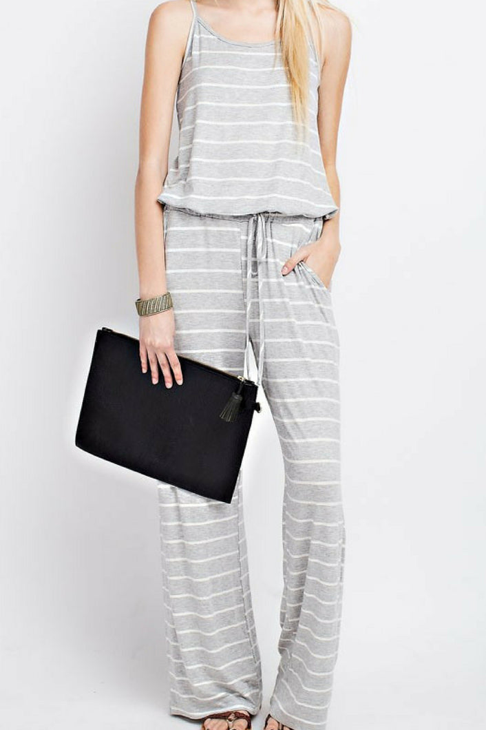 Meet Me At the Yacht Jumpsuit (Grey)