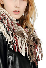 Load image into Gallery viewer, Soft and Cozy Fringed Infinity Scarf (Tan)
