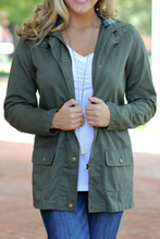 Load image into Gallery viewer, Touch of Plaid Utility Jacket (Olive)