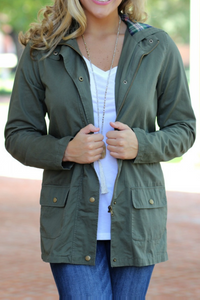 Touch of Plaid Utility Jacket (Olive)