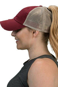 Two Tone Mesh Distressed Ponytail Adjustable Baseball Cap