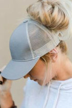 Load image into Gallery viewer, Messy Bun Cotton and Mesh Baseball Cap