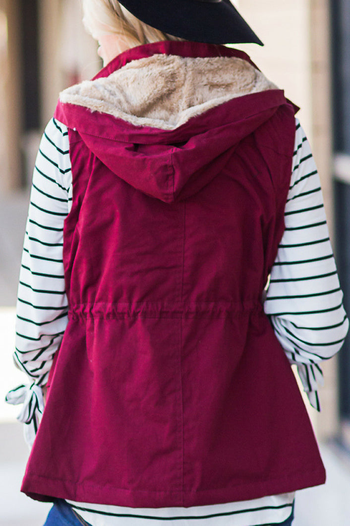 Snuggle Up Fur Lined Vest (Wine)