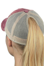 Load image into Gallery viewer, Two Tone Mesh Distressed Ponytail Adjustable Baseball Cap