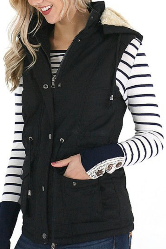Snuggle Up Fur Lined Vest (Black)
