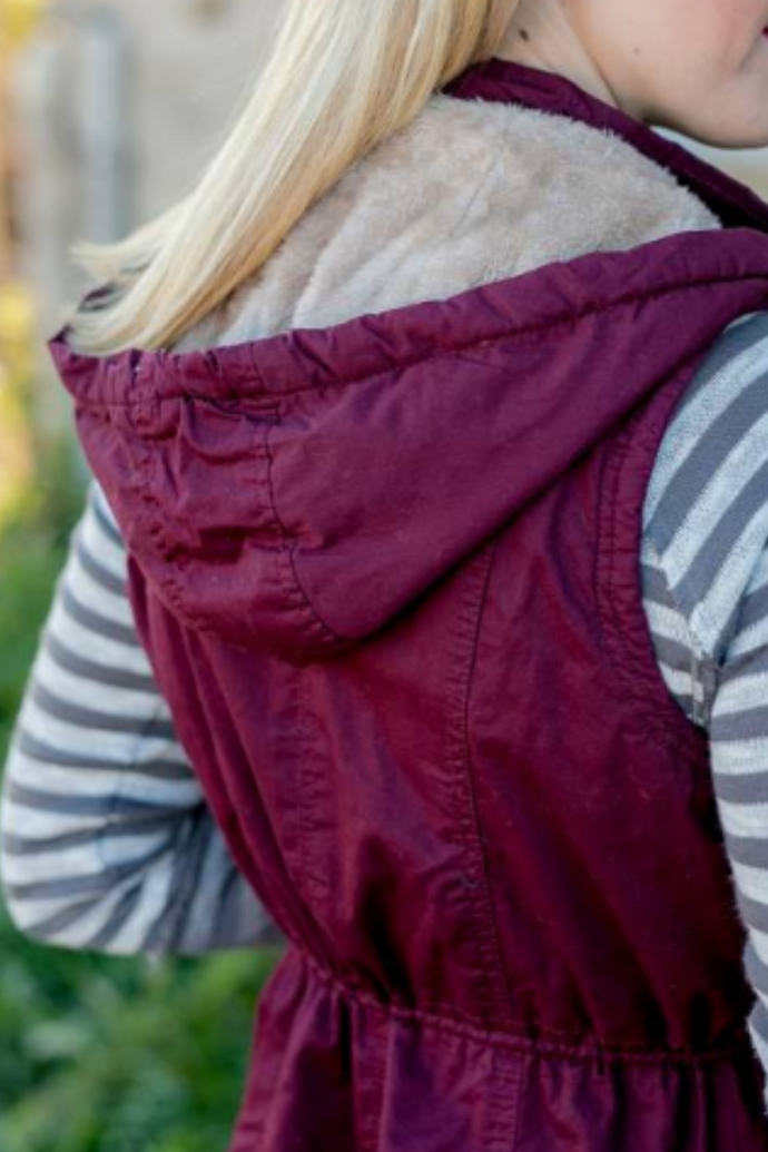 Adventure Bound Fur Lined Vest (Wine)
