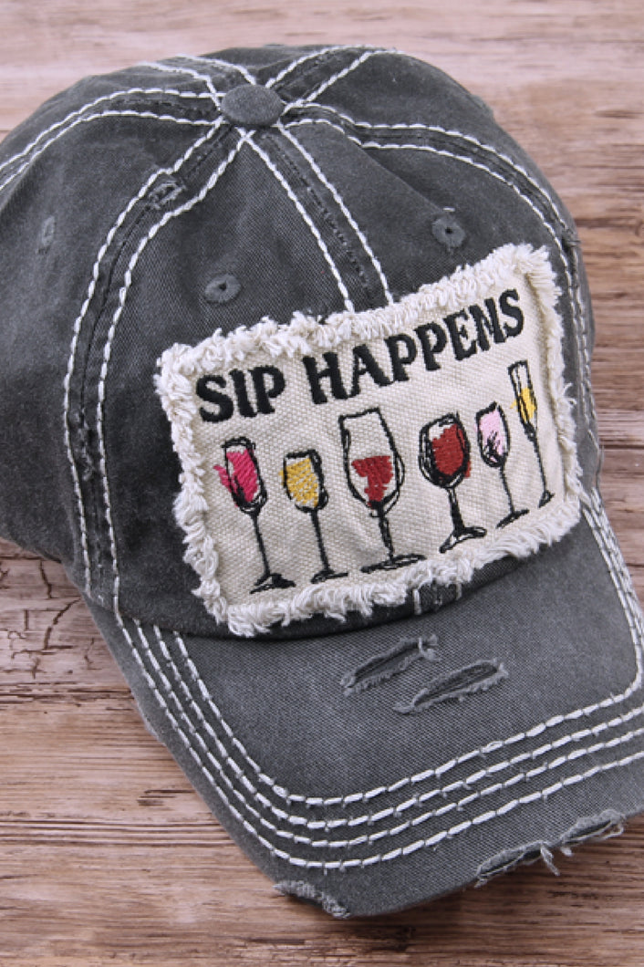 Sip Happens Distressed Baseball Cap