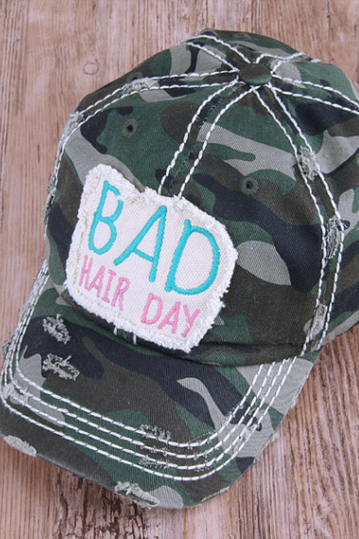 Bad Hair Day Distressed Baseball Cap