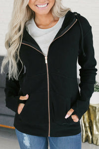 Ampersand Ave™ Full Zip Black Hoodie - Rose Gold Zip (Curvy)