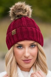 C.C Knit Fleece Lined Pom Pom Beanie (Multiple Colors)