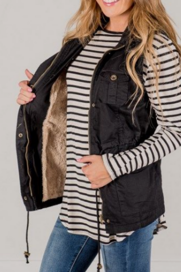 Adventure Bound Fur Lined Vest (Black)