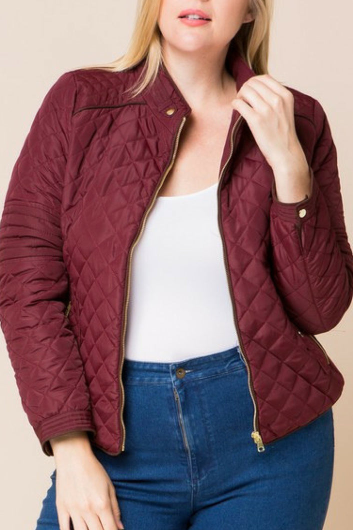 Finishing Touch Quilted Jacket (Wine)