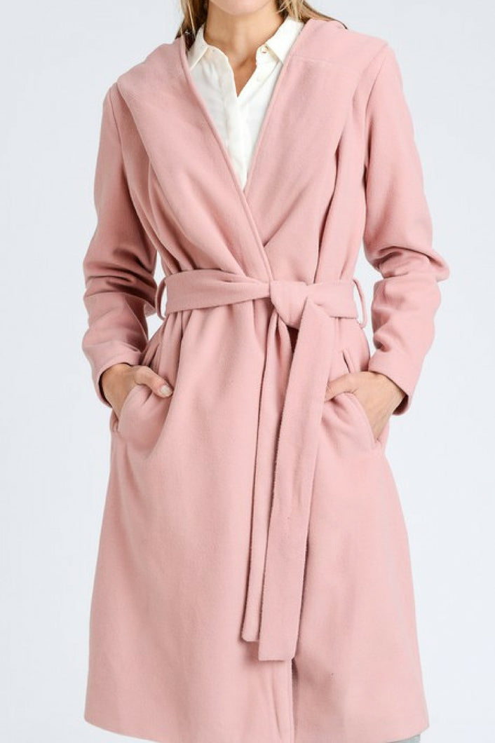 City Life Belted Trench Coat (Pink)