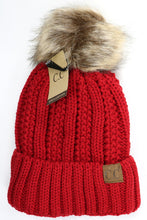 Load image into Gallery viewer, C.C Knit Fleece Lined Pom Pom Beanie (Multiple Colors)