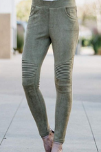Load image into Gallery viewer, Per-Suede Me Jeggings (Olive)