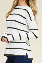 Load image into Gallery viewer, Stripe Out Sweater (White and Olive)
