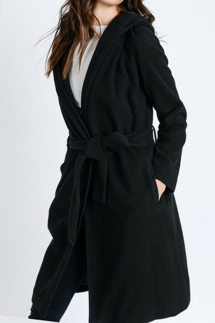 City Life Belted Trench Coat (Black)