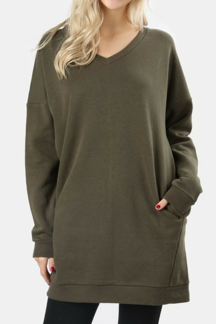 By the Fire Pocketed Sweatshirt (Olive)