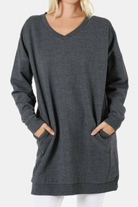 By the Fire Pocketed Sweatshirt (Charcoal)
