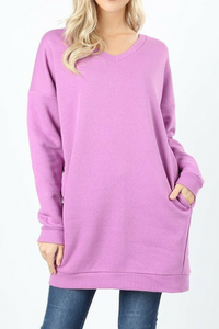 By the Fire Pocketed Sweatshirt (Mauve)