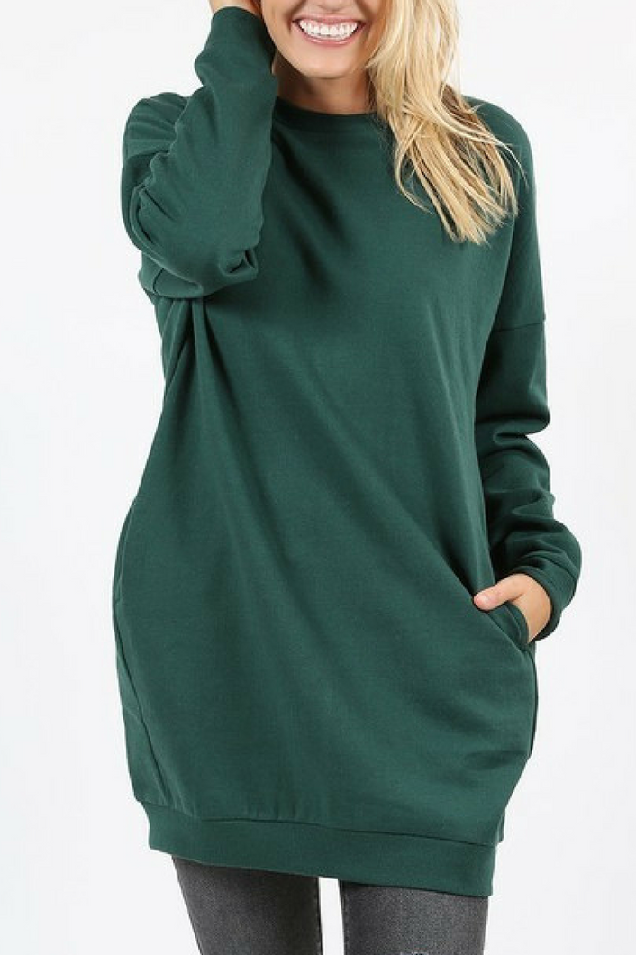 Cozied Up Pocketed Sweatshirt (Hunter Green)