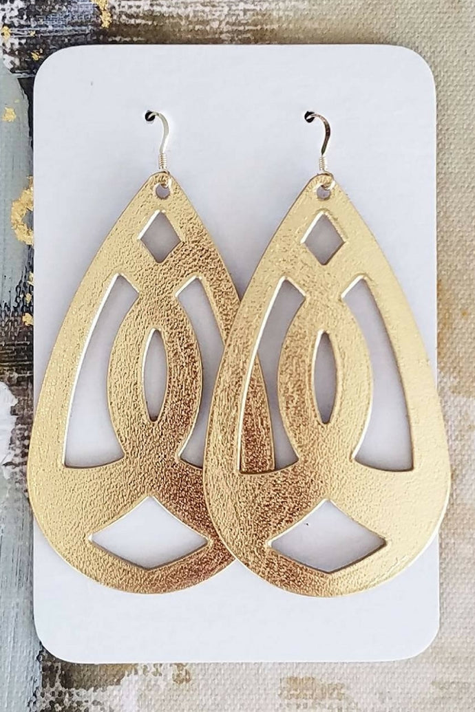 Gold Dusted Leather Earrings