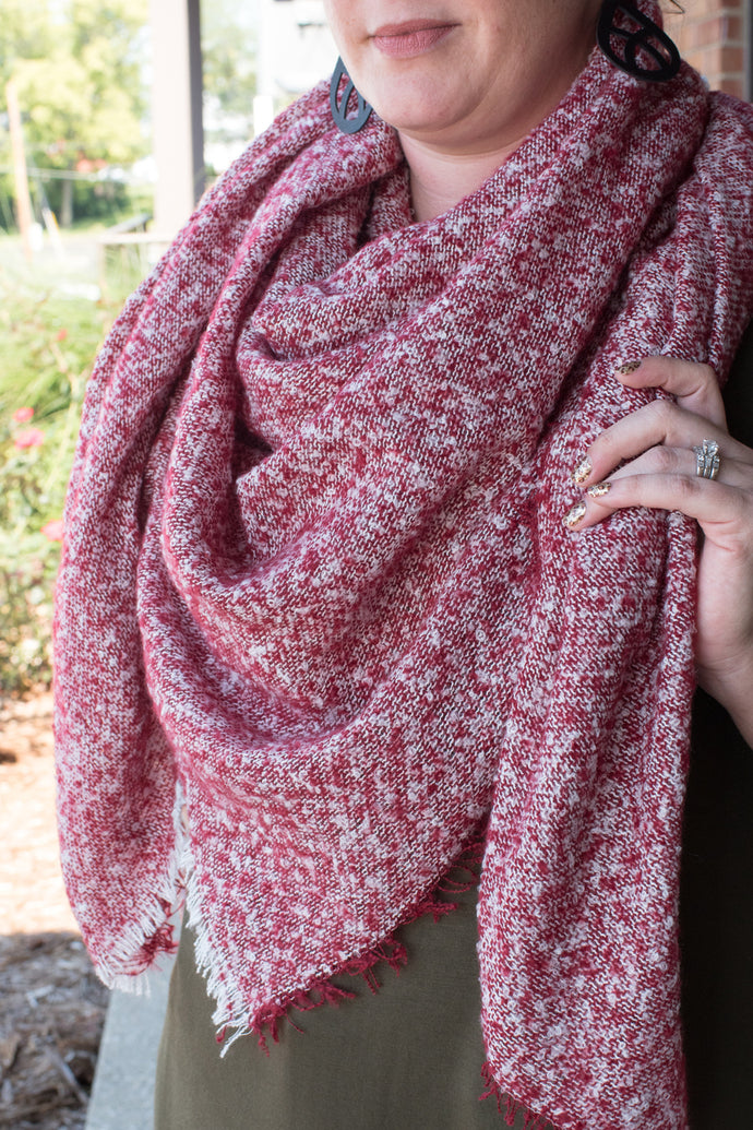 Oh So Chic Blanket Scarf (Red)