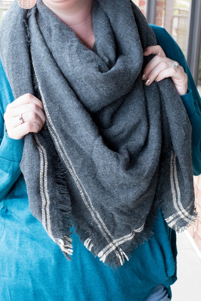 No Hesitations Blanket Scarf (Charcoal)