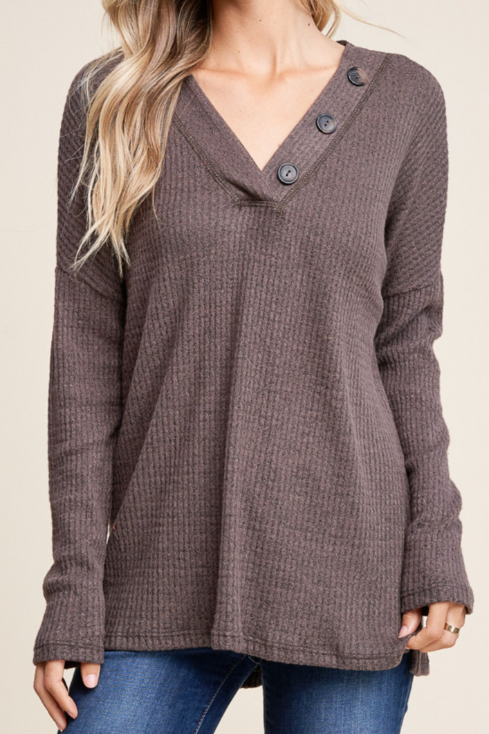 Sunday Morning Cuddles Waffle Knit Top (Brown)