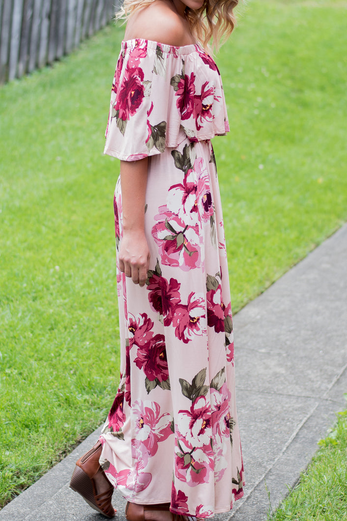 Go With the Flow Maxi Dress (Pink)