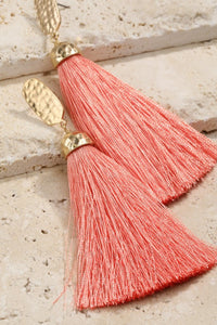 Not Worth the Tassel Earrings (Coral)
