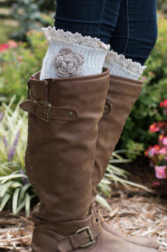 Shabby Chic Boot Cuffs (Cream)