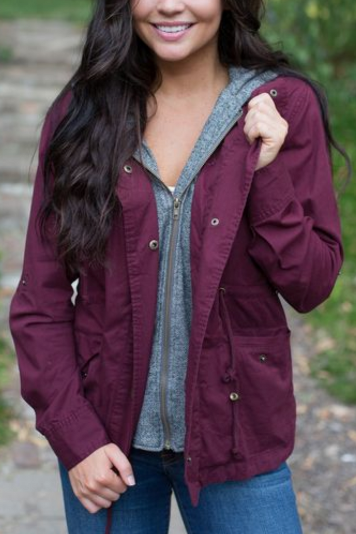 Ready for Anything Utility Jacket (Wine)
