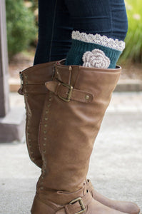 Shabby Chic Boot Cuffs (Evergreen)