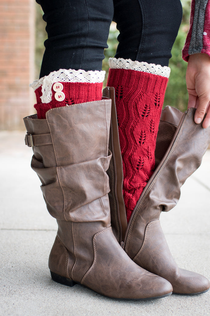 Peek-a-Boot Leg Warmers (Red)