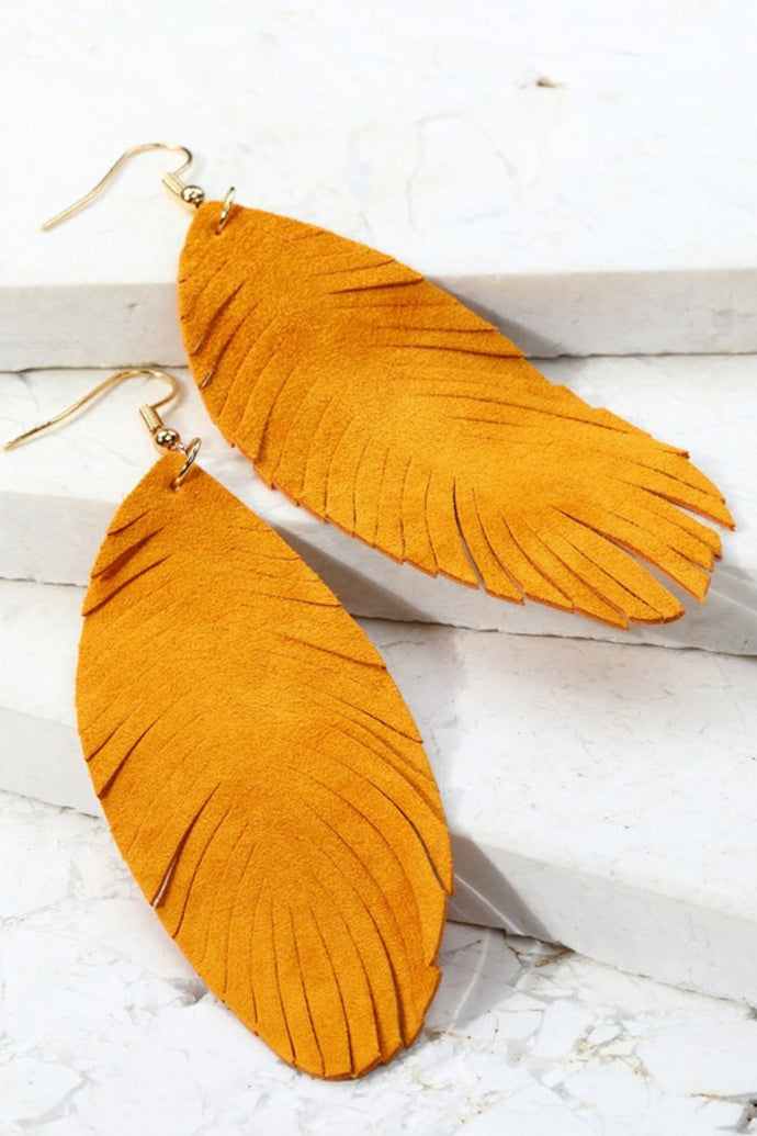 Light as a Feather Leather Earrings (Camel)