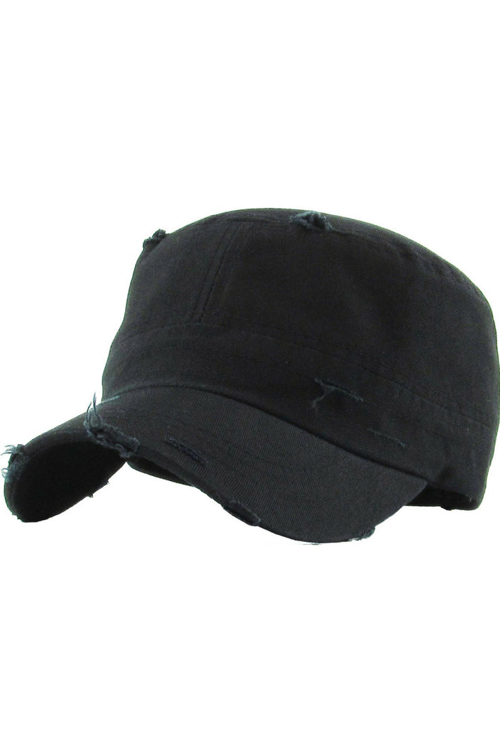 Reserved Distressed Cadet Hat (Black)