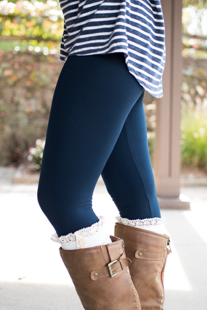 Amazing Fleece Lined Leggings (Curvy-Navy)